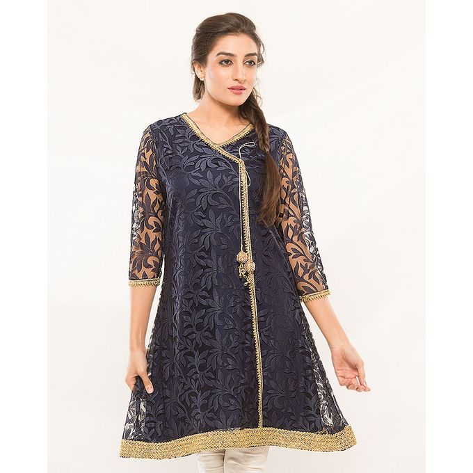 NS Navy Blue Net Angrakha for Women