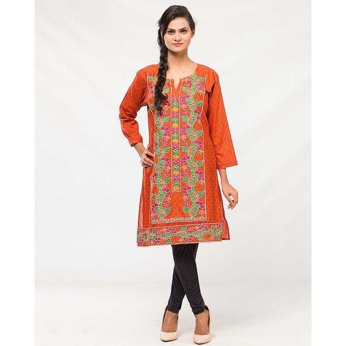 NS Orange - Cotton Printed & Embroidered Kurti for Women