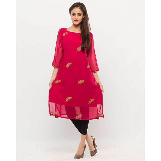 NS Pink Chiffon Golden Printed Kurta For Women