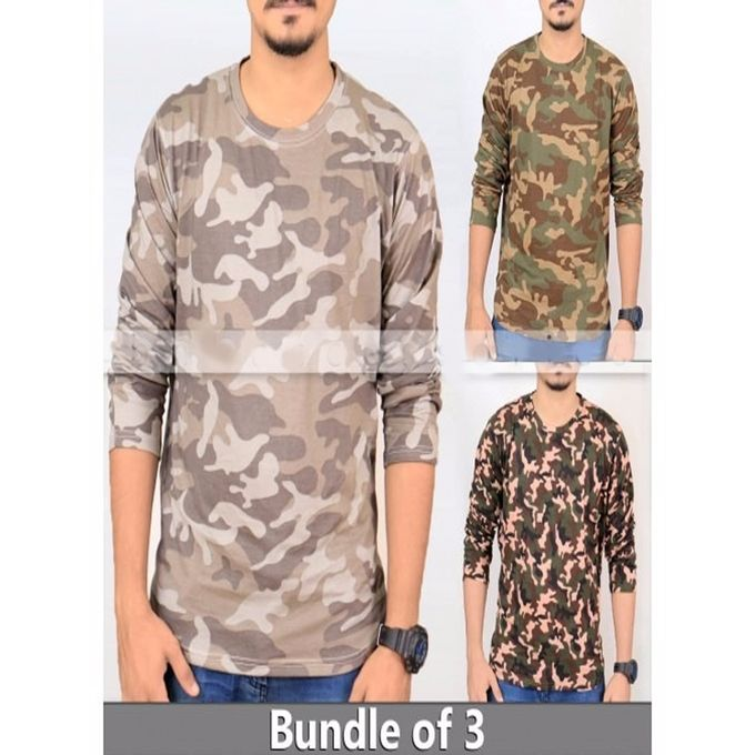 Pack Of 3 - Multicolor Army Style Cotton Full Sleeves Tshirts For Men