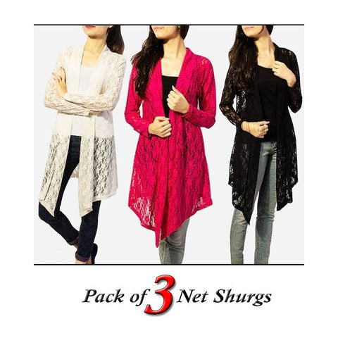 Pack Of 3 - Net Shrug For Women