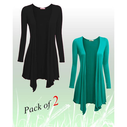 Pack of 2 - Black & Green Cotton Shrugs for Women
