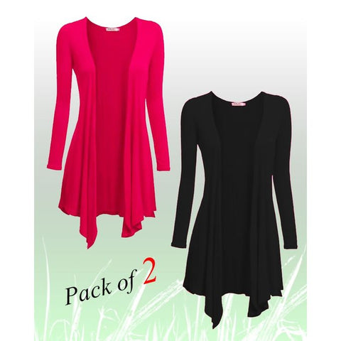 Pack of 2 - Black & Pink Cotton Shrugs for Women