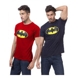 Pack of 2 - Navy Blue & Red Cotton Batman T-Shirt for Men