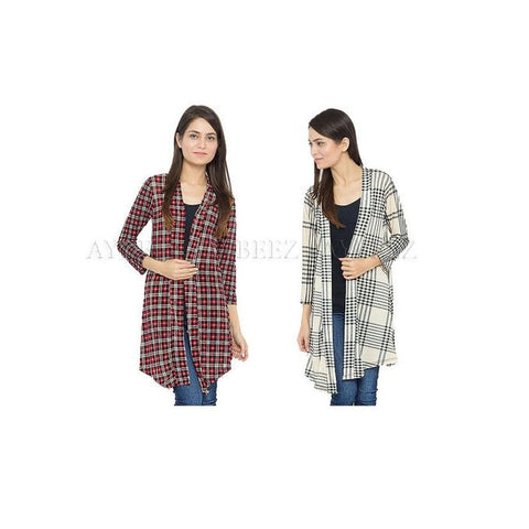 Pack of 2 Multicolour Cotton Checkered Shrug for Women