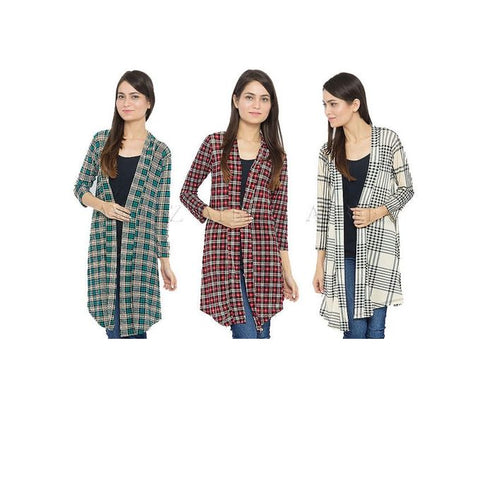 Pack of 3 Multicolour Cotton Checkered Shrug for Women