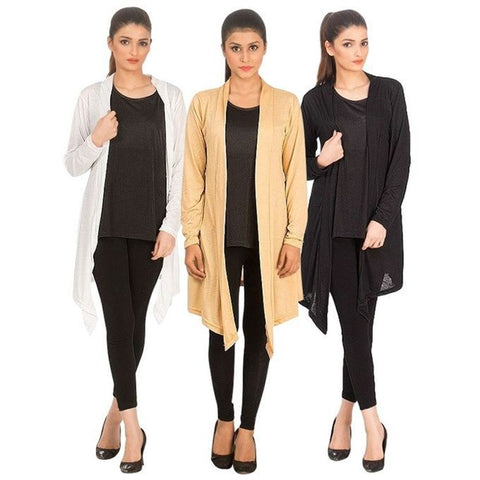 Pack of 3 multicolor shrugs for women