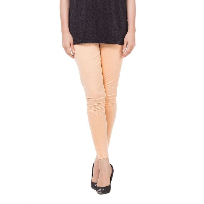 Peach Cotton Tights For Women