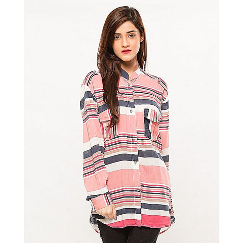 FC Pink Linen Printed Kurta for Women