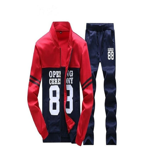 Red & Blue Fleece Track Suit for Men