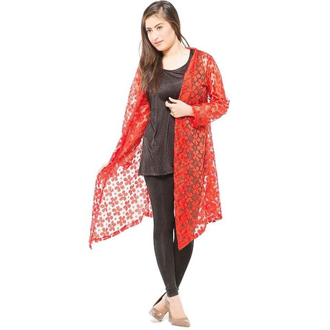 Red Single Net Shrug For Women