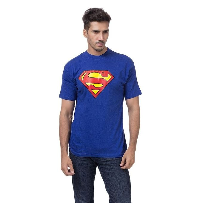 Royal Blue Cotton Superman T-Shirt For Men
