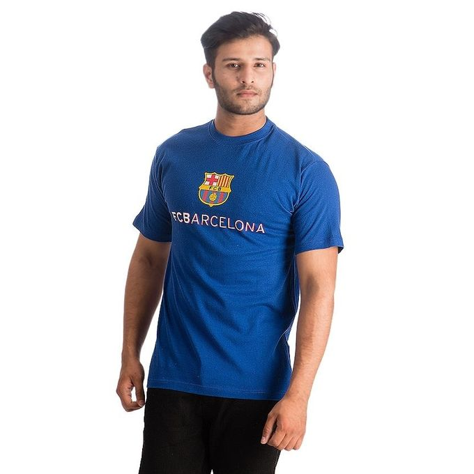 Blue Printed Cotton FC Barcelona Fan T-Shirt for Men