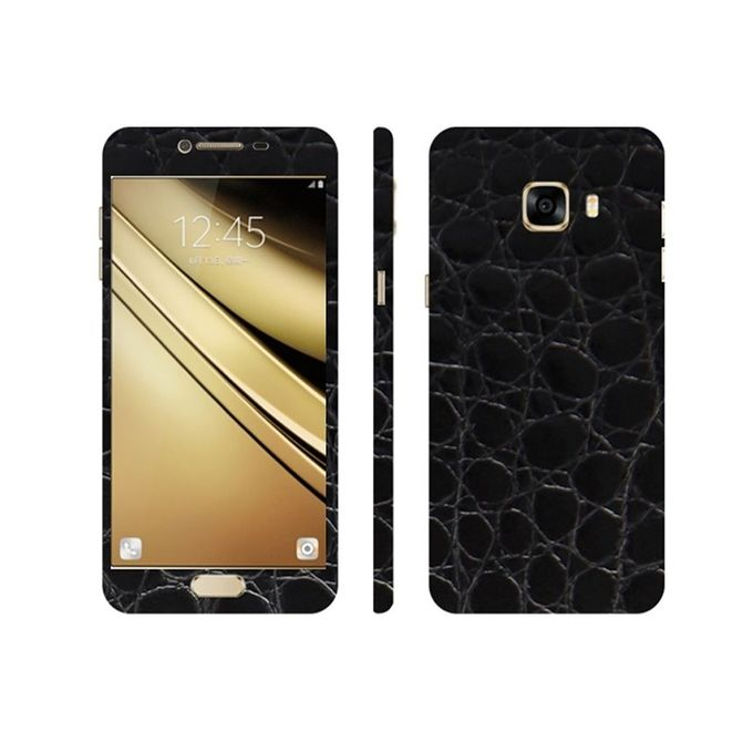 Samsung Galaxy C7 3M Black Crocodile Leather Texture Mobile Skin