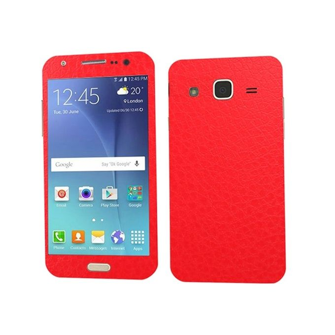 Samsung Galaxy J5 2015 Red Common Leather Texture Mobile Skin