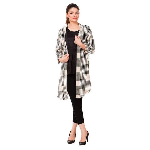 Skin Checkered Viscose Shrug for Women