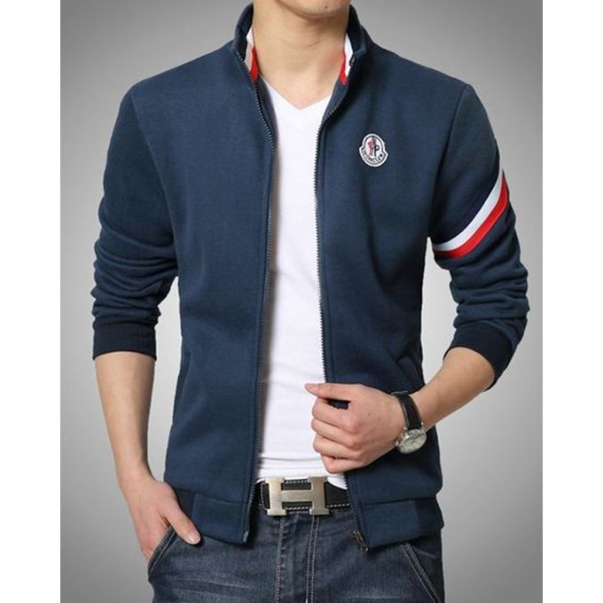 Stylish Blue Jacket with Red Stripped for Men