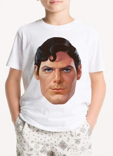 White Superman Head Kids T-Shirt