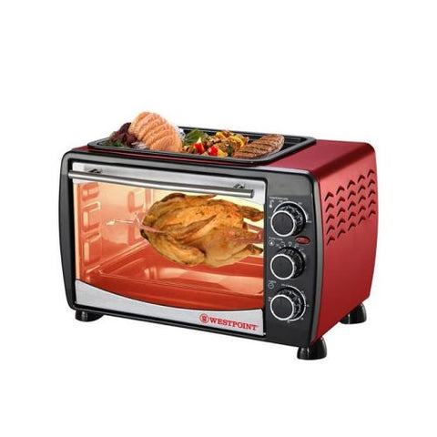 Westpoint Toaster Oven With Hot Plate - WF-2400RD - 24 Litre - Red & Black