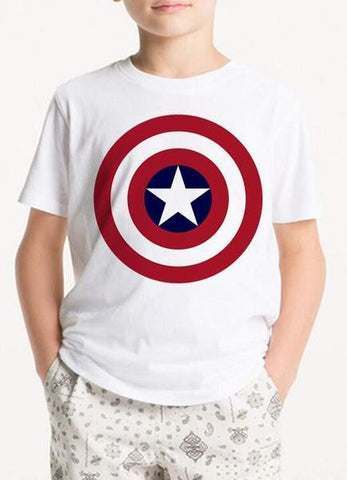 White Avenger Shield Kids T-Shirt