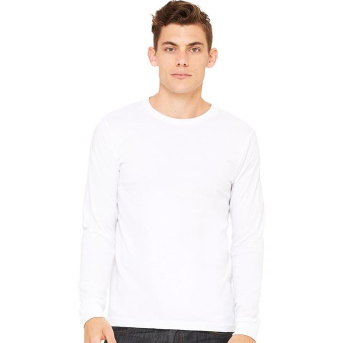 White Cotton Plain Full Sleeves T-Shirt for Men