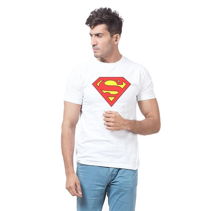 White Cotton Superman T-Shirt for Men