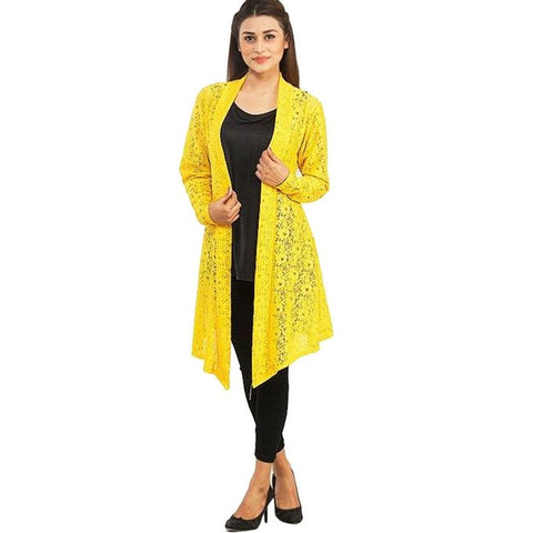 Yellow Net Shrug For Women