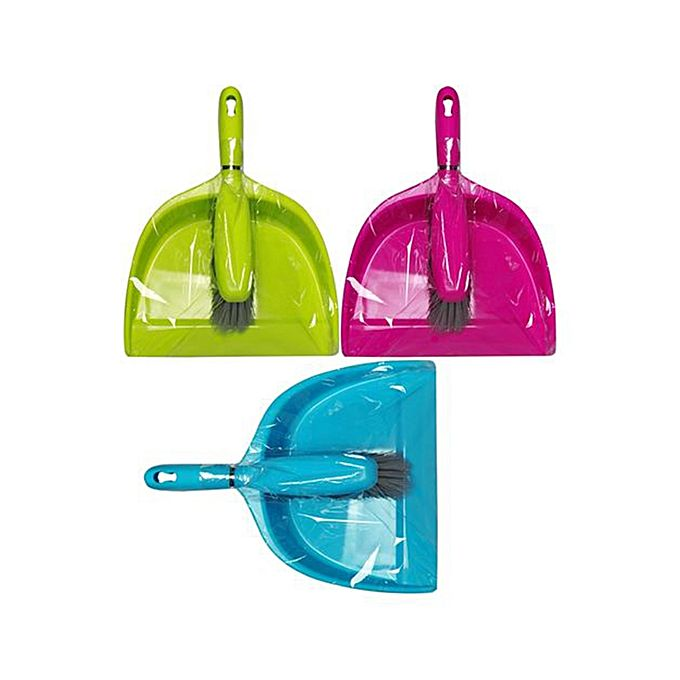 Pack of 3 Brush with Dustpan Set Plastic