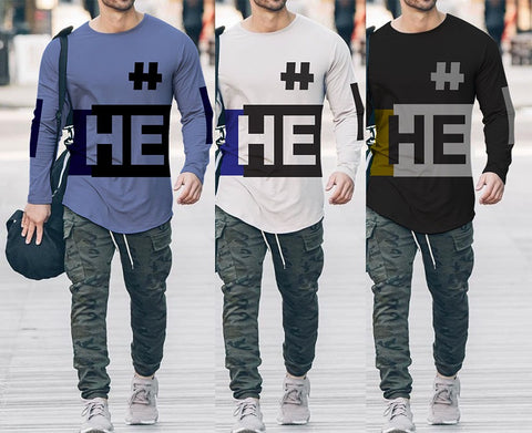 Pack of 3 Full Sleeves Printed T-Shirts for Men