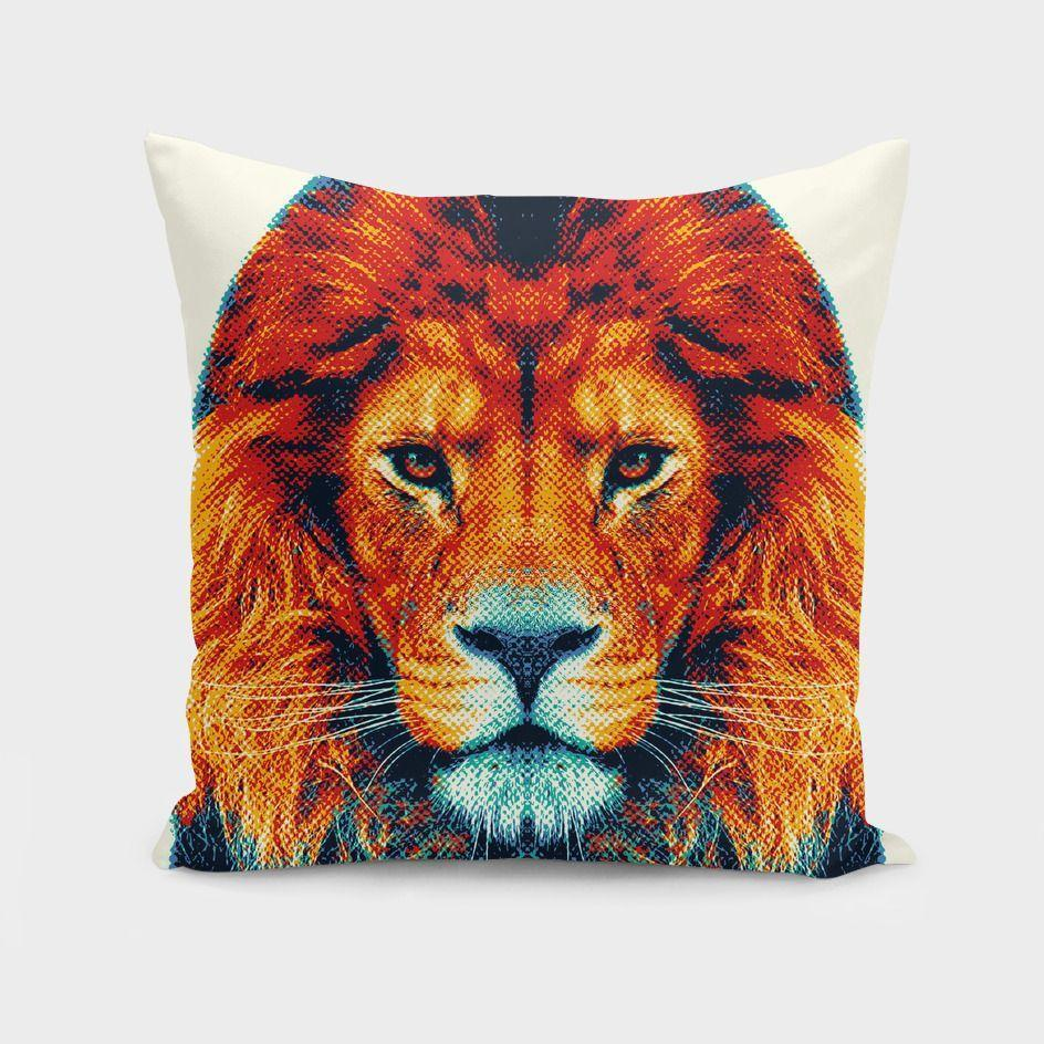 Lion Colorful Animals Cushion Pillow