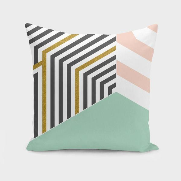 Mint & Gold Room Cushion Pillow