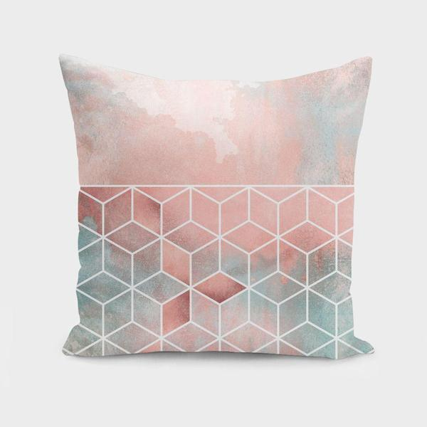 Rose Clouds And Cubes Cushion Pillow