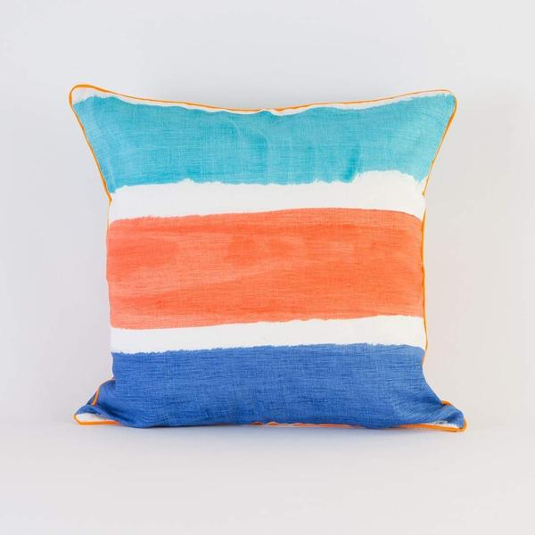 Stripe Coral Blue Cushion Pillow