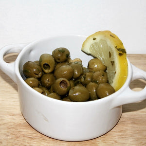 Lemon and Garlic Olives (Pitted)