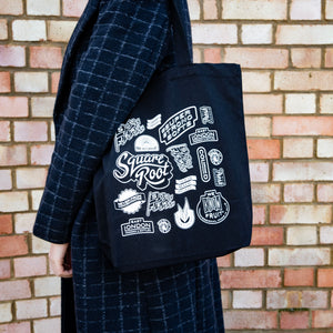 Square Root Soda Black Tote Bag