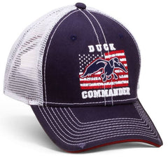 Duck Commander Hat Navy/White Flag