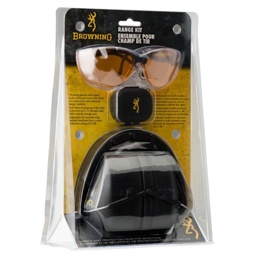 Browning Ear Defenders Kit Inc Glasses Black