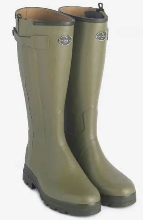 Le Chameau Chasseur Ladie's Leather/ Fleece Lined Wellingtons-Green