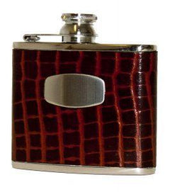 4ozLeather Flask by Bisley-Black or Brown Croc leather - reid outdoors