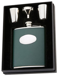 Leather 6oz Hip Flask in Presentation Box - reid outdoors