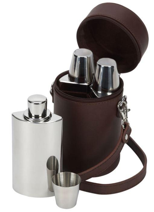 Brown Leather Travel Bar Whisky Set by David Nickerson - reid outdoors