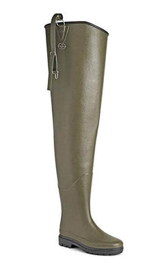 Le Chameau Delta Hip Boots, Green/Brown