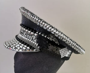 Festival Hats ~ Sexy Silver n Black Captain Hat