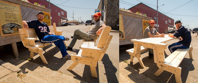 Double bench that folds into a picnic table