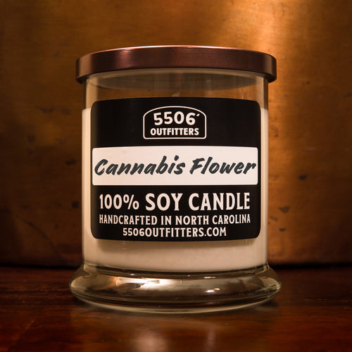 Cannabis Flower Candle in a 12-Ounce Reusable Cocktail Glass