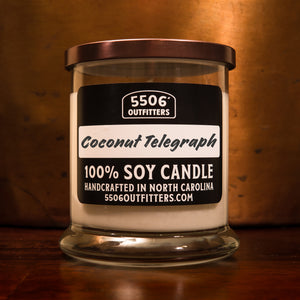 Coconut Telegraph Candle in a 12-Ounce Reusable Cocktail Glass