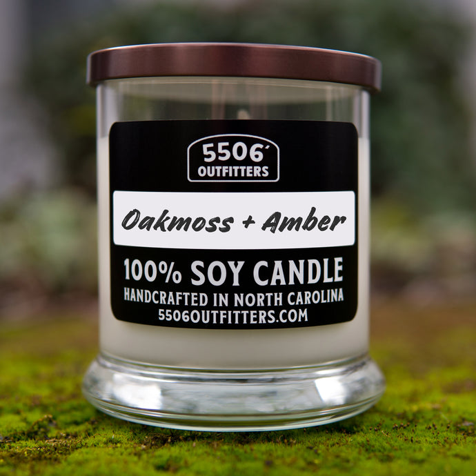 Oakmoss + Amber Candle in 12-Ounce Reusable Cocktail Glass