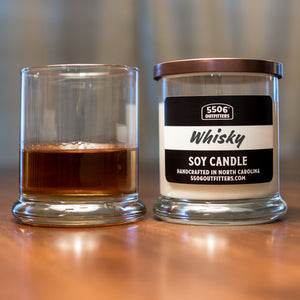 Whisky Straight Up Candle in a 12-Ounce Reusable Glass