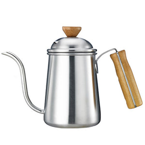 650ml Gooseneck Spout Pour Over Coffee Kettle Tea Pot Thickening Stainless Steel Body Wood Handle Long Mouth Drinkware