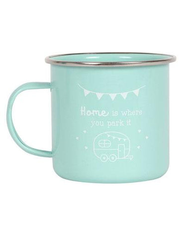 Evercreatures - Home Is Where you Park It Enamel Caravan Mug - Mint
